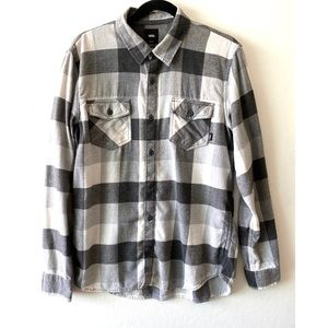 Vans Flannel Plaid Gray/White Long Sleeve Shirt